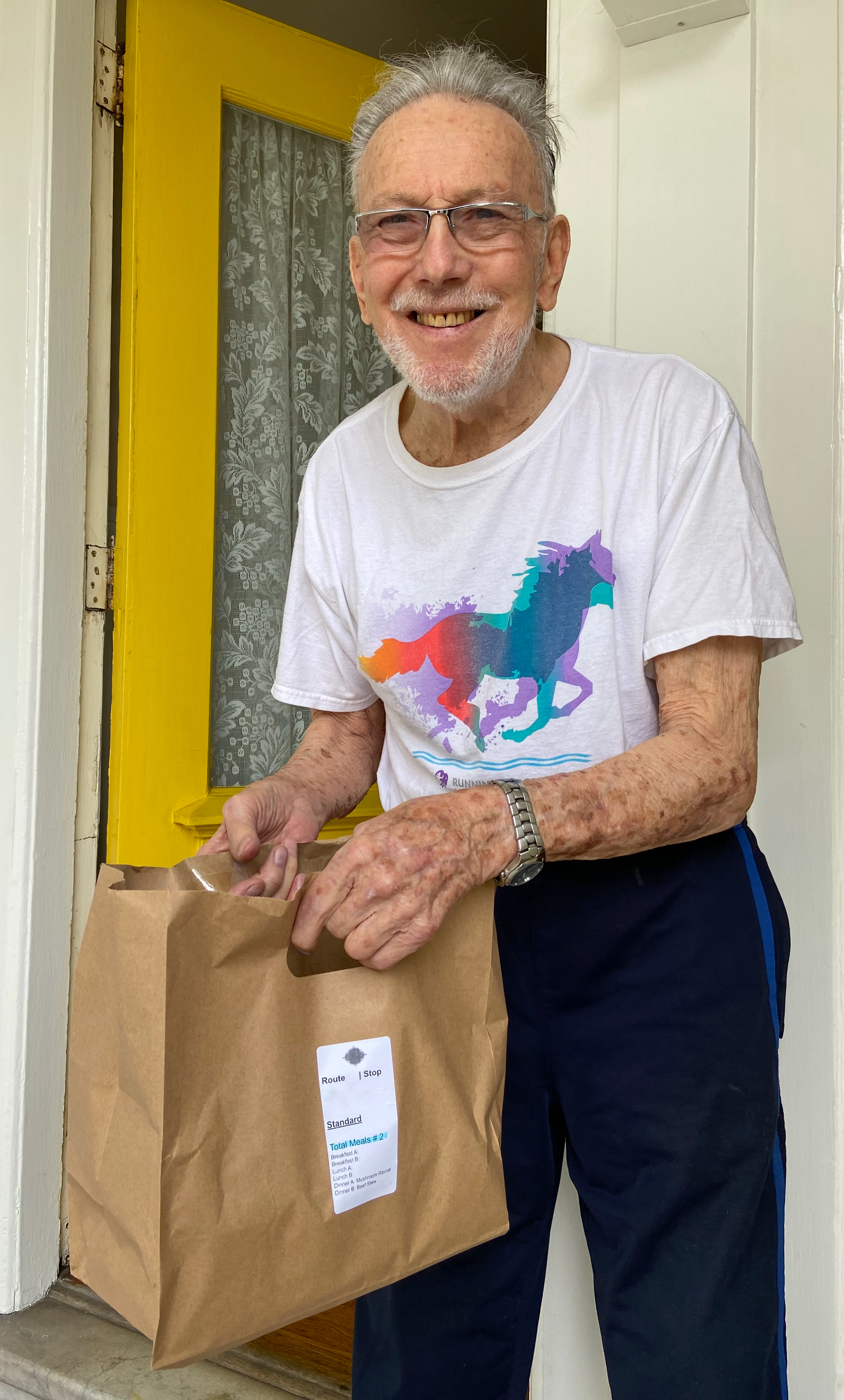 San Francisco Castro resident Tom with his delivery from Great Plates Delivered SF program